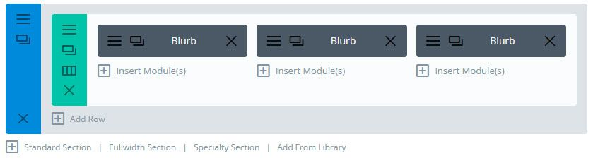 Divi Builder Section Row and Modules Setup