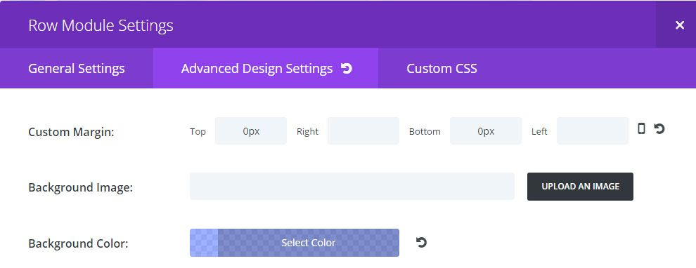 Divi Row Advanced Settings