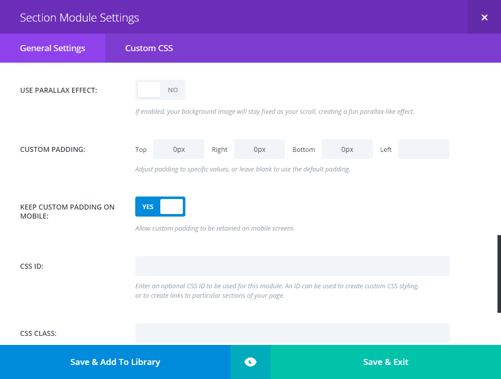 Full Width Section Settings