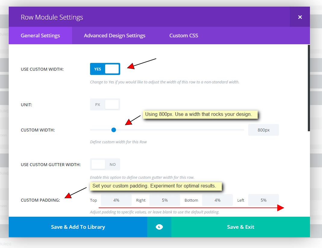 Row Module General Settings for Content over Graphics