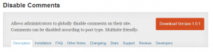 WordPress Disable Comments Plugin available on WordPress dot org