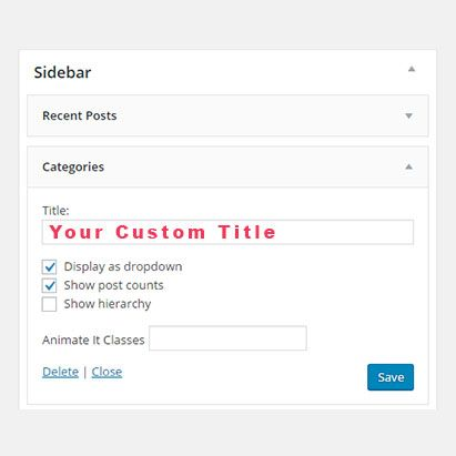 WordPress Widgets Custom Title